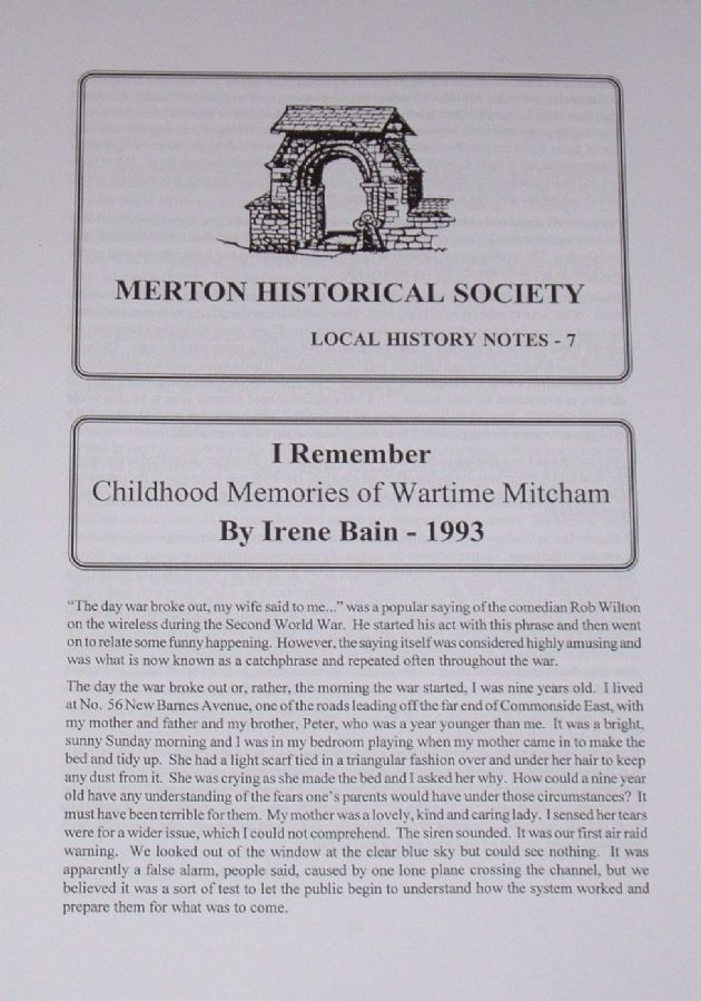 I Remember - Childhood Memories of Wartime Mitcham, by Irene Bain